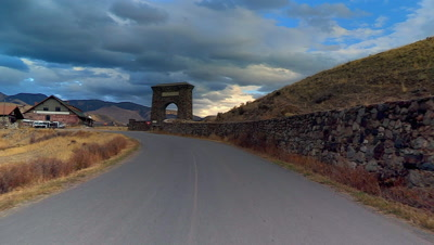 The Roosevelt Arch at Yellowstone's north entrance