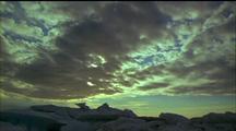 High Blanket Cloud Across Sun, Cloud Clearing, Jumble Of Sea Ice In Fg