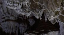 Formations Inside Cave, Water Dripping, Stalactites