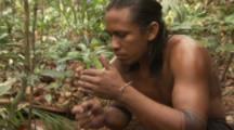 Indigenous People In Amazon Forest,Bullet Ant Ritual,Blow Smoke to drive ants from nest