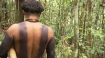 Indigenous People In Amazon Forest,Bullet Ant Ritual,man with body paint