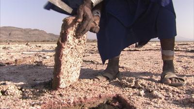 Masaai People Cutting Soda Slabs