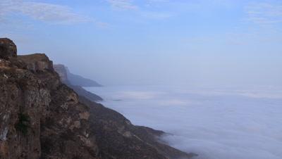 Time Lapse Clouds Moving Below Jebel Samhan Mountains