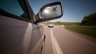 POV Time Lapse,Driving on Motorway,Highway,view includes side mirror