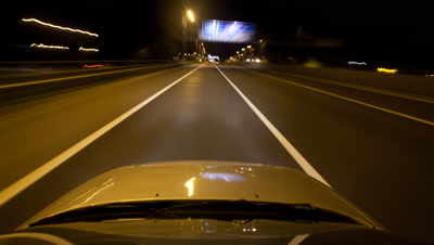 POV Time Lapse,Driving on Motorway,Highway,at Night,View out Windshield