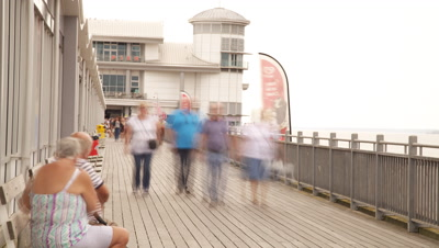 Time Lapse,People Walk At Grand Pier,Weston-super-Mare