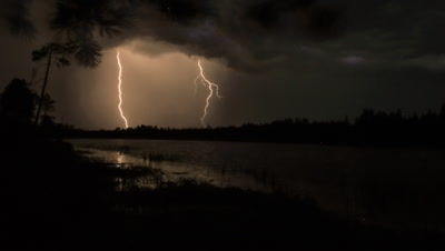 Timelapse of lightning storm over forest with a water body in foreground