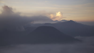 Time lapse of Volcanoes spewing volcanic ash at Bromo Tengger Semeru National Park