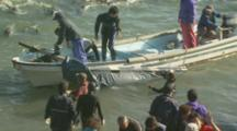 Boat With Dolphin In Stretcher
