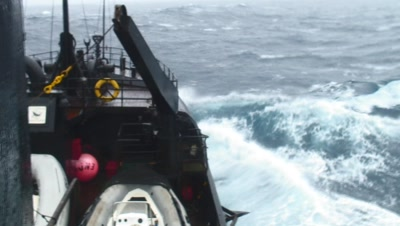 Ship Farley Mowat In Big Stormy Seas