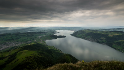 swiss alps lake panoramic view cloudscape timelapse loop