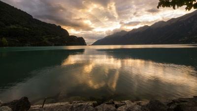 sunset mountain lake motion timelapse