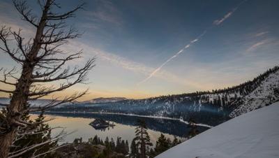 dusk timelapse at lake tahoe late winter