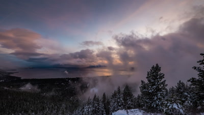 dusk atmosphere winter motion time lapse lake view