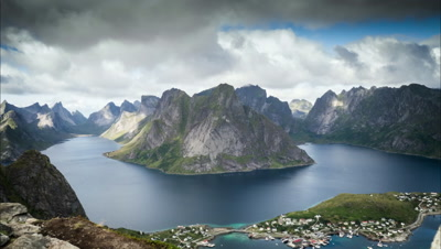motion timelapse cloudscape view over norways islands, mountains and coasts