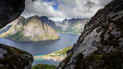 northern fjord and lagoon overview, mountain range and island motion timelapse