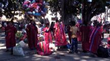 Park Scene, People Wearing Indigenous Costumes, Oaxaca, Mexico