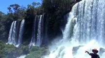 Pullback, Pan Several Waterfalls At Iguazu
