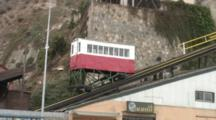 Ancient Funicular Climbs Tracks In Valparaiso, Chile