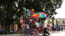 Plaza Central, Oaxaca, Mx, People Walking Thru, Balloon(Globo)Salesman