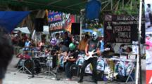 Plaza Central, Oaxaca, Mx, Rock Band(Faces Covered By Masks)