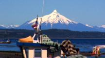 Distant View Volcan Corcovado, Fishing Boat Foreground
