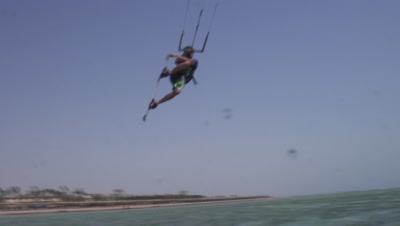 Kiteboarder Jumps Close To Camera With Nose Grab