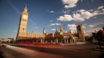 Time Lapse, Cars And Clouds Pass Big Ben, London