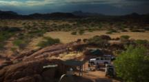 Time Lapse, Overlook View Of People Camping In Namibia Desert