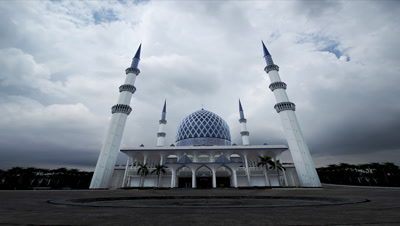 Storm Brewing Over The Famous Blue Mosque In Kuala Lumpur.