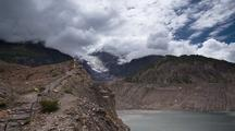 Clouds Moving Over Manang Glacier And Lake
