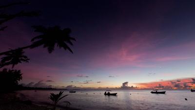 Sunset Dusk Timelapse near tropical shoreline