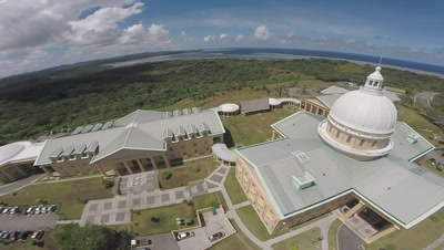 Aerial drone shot of Palau's Congress building