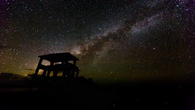 5K Timelapse of derelict building and Milky Way
