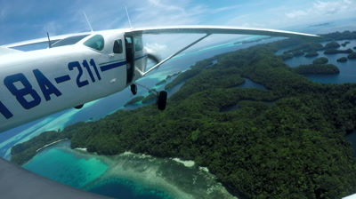 Action cam mounted externally on light aircraft as it flies over Palau's Jellyfish Lake