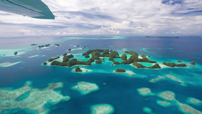 Aerial view of Palau's 70 islands from small aircraft