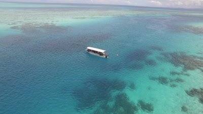 Aerial Drone view of tourist dive boat in Ulong Channel, Palau