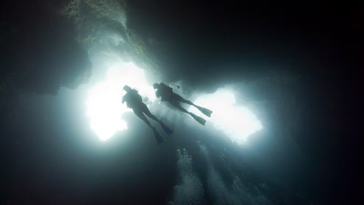 SCUBA Divers in Palau's Blue Holes