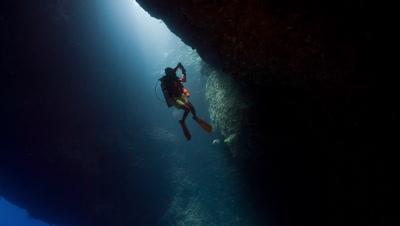SCUBA Diver inside Palau's Blue Holes
