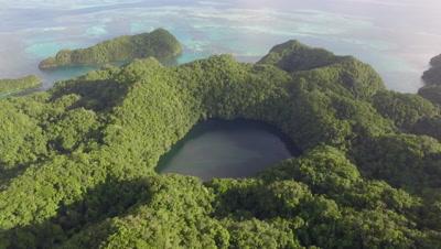 Aerial drone shot revealing Marine Lake in tropical island