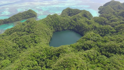Aerial reveal of Large Marine lake in tropical island