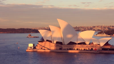 Opera House Sydney Harbour Australia Sunset City Landscape establishing shot