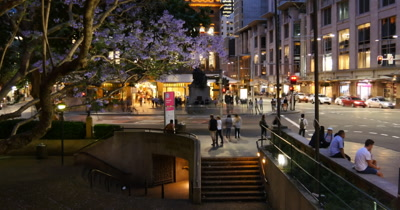 Sydney Australia Queen victoria building and Town Hall street scene