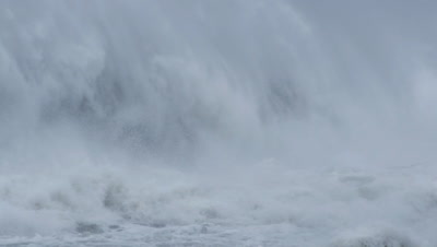 Stormy sea large ocean waves and big swells with sea spray brought on by rising co2 level and the effects of climate change. Footage was taken during a cyclone, hurricane, typhoon weather storm when the ocean sea waves were very rough and winds where blowing a gale.