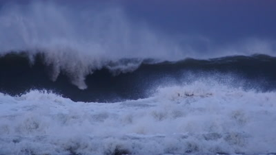 Crashing waves storm sea swells with white wash waves El Niño