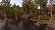 Water Lily Pads, Trees, Rocks At Edge Of Tranquil Kimberley Water Pool