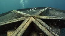 Medium Shot Of Two Divers Swimming Over An Aquapod Fish Farm