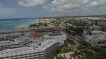 Aerial Over Coastal Resort Area, Possibly Cancun