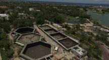 Aerial View Of Industry, Possibly Waste Water Treatment Plant