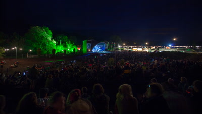 Main stage at Green Man festival 2012 with crowd in foreground